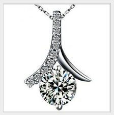 Lady's Silver Round White Sapphire Pendant NO Tarnish Necklace 45cm Long