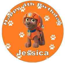 Paw Patrol Zuma Personalised Cake Topper Edible Wafer Paper 7.5""