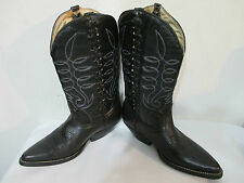 BOTAS CHAPARRAL BLACK LEATHER COWBOY WESTERN BOOTS Youth Size 3.5 Womens 6
