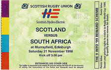 Scotland v South Africa 21 Nov 1998 Murrayfield  RUGBY TICKET