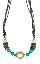 Howlite Stone Turtle Adjustabel Necklace on brown cotton cord - NOW 25% OFF