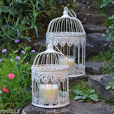 Set of 2 - Wedding Favours Table Centerpiece Shabby-Chic Round White Bird Cage