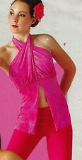 NEW Small ADULT DANCE Costume TOP HALTER crisscross NECK Foiled Pink