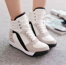 Womens High Top Rivet Casual Trainers Boots Mid Wedge Heel Sneakers Ladies Shoes