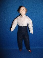12th scale dolls house elderly man - Grandfather in shirt and slippers