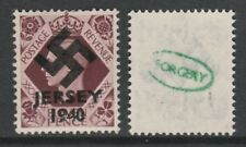 GB Jersey 3606 -1940 Swastika Overprint forgey om genuine 11d stamp unmounted