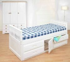 White Pine 3ft Single Captain Cabin Storage Solid Pine Wooden Bed with drawers