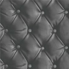 Arthouse Luxury Opera Leather Faux cushioned headboard wallpaper black