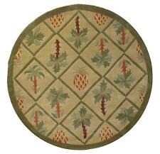 8x8 Round  Area Rug Tropical Palm Tree  &  Pineapple Design  1 Inch Thick Green