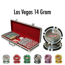 New 500 Las Vegas 14g Clay Poker Chips Set Black Aluminum Case - Pick Chips!