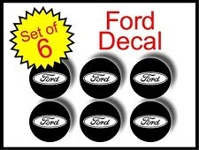 "Ford black white 2"" / 51mm 6pc Replacement Decal Sticker center cap hub wheel"