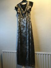 Per Una bronze devore evening dress, 12, M&S, 20s, 40s, vintage style, gown