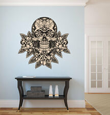 LARGE Mexican Sugar Skull Wall Decal with roses Day of The Dead Vinyl Wall Decal