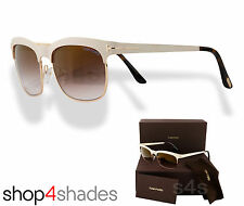Tom Ford Elena Clubmaster Sunglasses Gold_Ivory_Graduated Brown FT 0437 25F 54