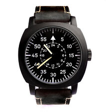 Awesome Aviator Pilot Black 45mm Military Army Vintage Steel Boat Watch Sub TW U
