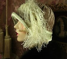 1920 VINTAGE STYLE GREEN & BROWN FEATHER CLOCHE FLAPPER HAT