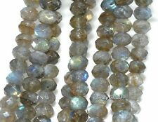 6X4MM  LABRADORITE GEMSTONE GRADE A FACETED RONDELLE LOOSE BEADS 8""