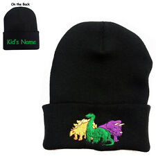 Three Dinosaurs Black Beanie Hat with Kid's Free Name on the backside
