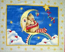 Nitey Night Teddy Bear Quilt Wall Hanging Panel Fabric cotton Moon Sky