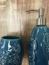 Cynthia Rowley Blue Ceramic Floral Soap Dispenser & Toothbrush Holder. Art Deco