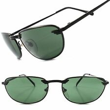 Classic Vintage Deadstock Green Lens Black Mens Stylish Rectangle Sunglasses