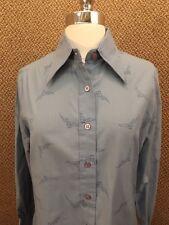 Hipster NOS Vtg 60s 70s Blue Eagle Falcon Birds Button Down Casual Shirt 14 NEW