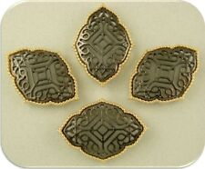 2 Hole Beads Moroccan Trellis Style Filigree Hematite & Gold ~ Sliders Qty 4
