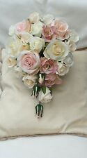SMALL TEARDROP BOUQUET VINTAGE PINKS PEACH IVORY CREAM ROSES WEDDING FLOWERS