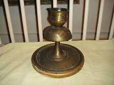 Antique India Middle Eastern Brass Lamp Base Or Candle Holder-Rare Etched Metal