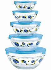 Glass Bowls With Lids Blue Food Storage Containers Set 10 Pcs