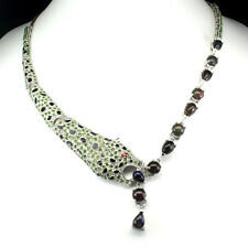 Awesome Rainbow Black Opal Chrome Diopside Sapphire 925 Silver Tiger Necklace
