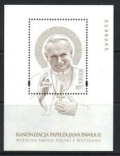Poland 2014 Joint Issue w/ Vatican Canonization Pope John Paul II MNH White S/S