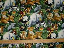 Cotton Fabric ZOO Animals Panda Elephant Zebra Monkey Koala Tiger BTY