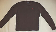 AMERICAN EAGLE L/S BROWN WAFFLE THERMAL PULLOVER SHIRT       M       K#8397