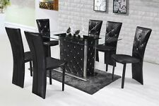 "Acme ""Nancy"" Eloquent Black w/ Glass Top 7 Piece Dining Set Furniture 71385"