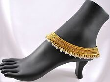 Gold Tone Anklet Polki Payal Bollywood Indian Bridal Wear Pair 2pcs White Pearl