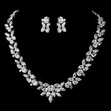 BRIDAL JEWLERY SET Exquisite CZ Necklace & Earring Set  Oval, Pear & Marquise