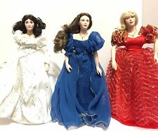 LOT OF 3 80'S Franklin Heirloom Dolls Grand Duchess Anastasia Red White & Blue