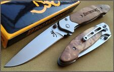 BROWNING FOLDING TACTICAL KNIFE 4.5 INCH CLOSED WOOD HANDLE WITH POCKET CLIP