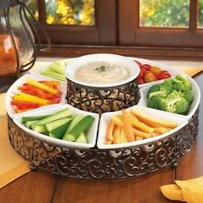 Chip and Dip Serving Server 6pc Set Ceramic Pressed Metal Appetizer Platter Tray