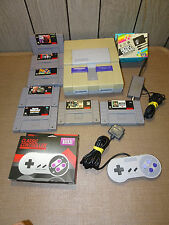 SNES Super Nintendo Console & 7 Football Games- Cleaned and Tested, Works Great