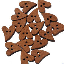 100pcs Lovely Heart Shape Brown Wood Wooden Sewing Button Craft Scrapbooking