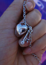 Authentic Tiffany & Co Diamond lock and key heart Platinum charm bracelet 7""