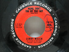 Lenny Welch 1962 Cadence It's Just Not That Easy /Mama Don't You Hit That Boy mp