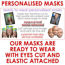 5 Personalised Party Face Masks. Pre-Cut Ready To Wear