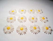 "12-VINTAGE 1"" DAISY FLOWERS CABOCHONS-WHITE/YELLOW-M01"