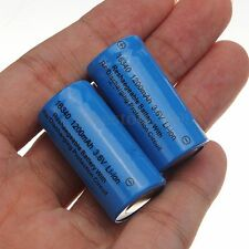 2pcs 1200mAh  3.6V 16340 CR123A Li-ion Rechargeable Battery For Torch Lamp new