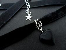 Damas De Terciopelo Negro y encanto del corazón 10mm Collar Gargantilla. Nuevo.