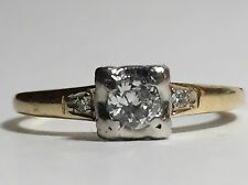 14k Yellow Gold Diamond Engagement Ring 0.25 CT ART DECO ANTIQUE Three Stone
