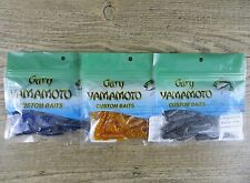 "LOT OF 3 PACKAGES - GARY YAMAMOTO 4"" SINGLE TAIL GRUB - CURL TAIL GRUB  3 COLORS"